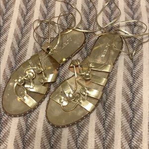 J Crew Gold Studded Wrap Lace Up Sandals 9